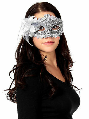 Ladies Lace Rhinestone Party Ball Masquerade Masks With Paillette Flower - Mask Ball Masks