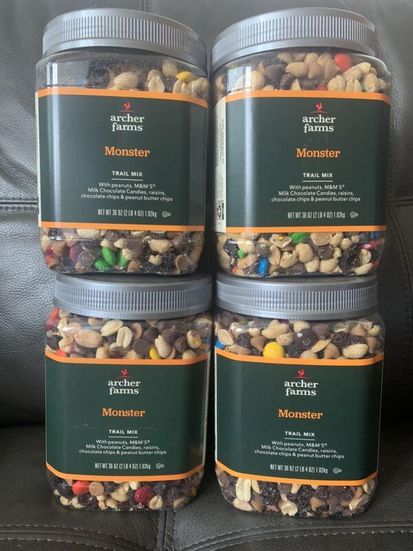 LOT OF 4 Archer Farms Peanut Butter Monster Trail Mix 36 Oz Plastic Jars