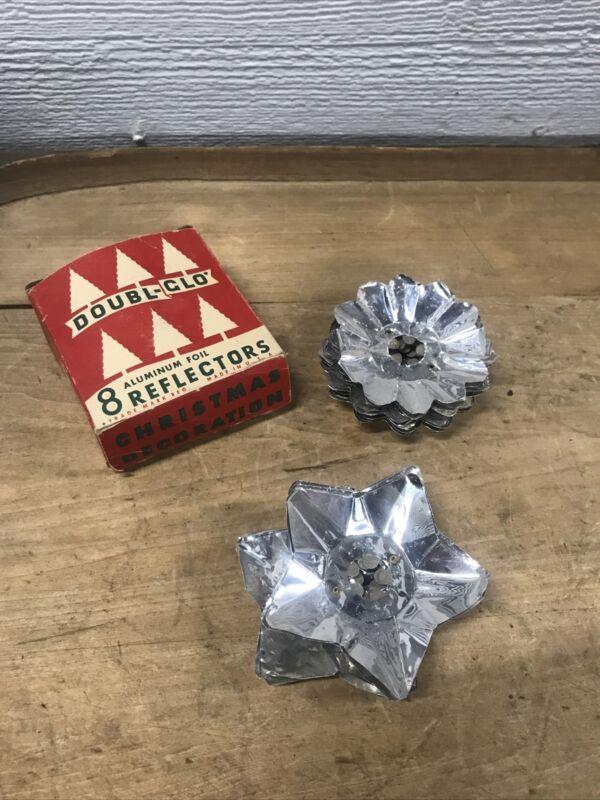 Vintage Doubl-Glo 10 Aluminum Foil Reflectors Christmas Tree Original Box
