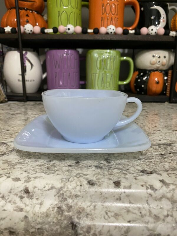 Anchor Hocking Fire King Charm Azurite Azure Blue Square Cup And Saucer