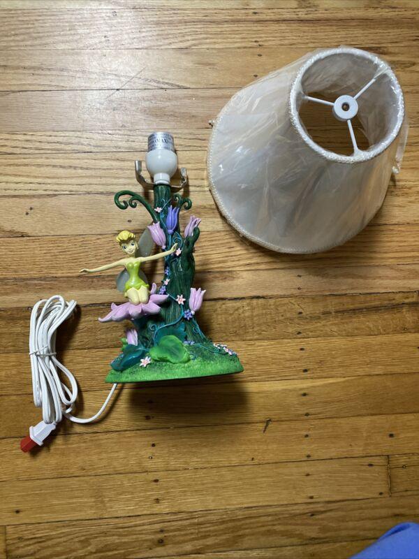 Disney Exclusive Ceramic Resin Peter Pan Tinker Bell Flower Tree Lamp NEW