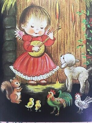 Vintage Christmas Card Black Background Angel Playing Music Baby  Animal Rooster ()