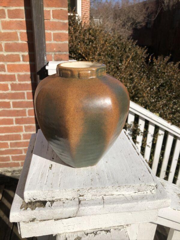Fulper Pottery octagonal vase Matte brown over Sienna arts & crafts 1922?