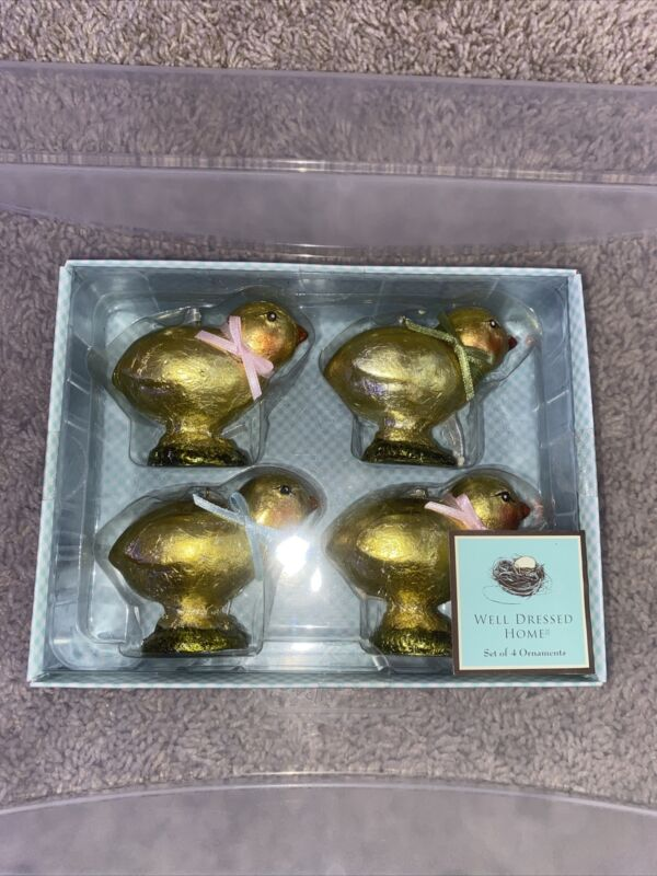 """Easter 2.5"""" Foil Wrapped 4 Chicks Resin Covered Mint In Box"""