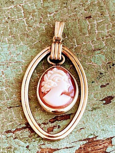 Vintage carved shell pendant 12K gold fill Vandell
