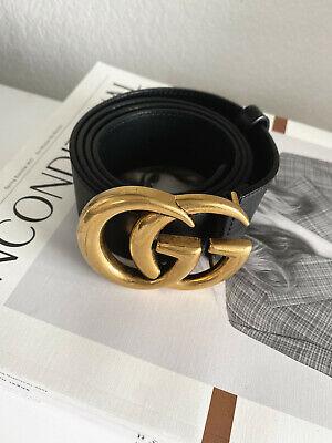"""Authentic Gucci Marmont Black Leather Double G """"GG"""" Women's Signature Belt 90CM"""