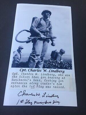 CHARLES W. LINDBERG († 2010) First Flag Iwo Jima signed Foto 10 x 16,5 RARITÄT