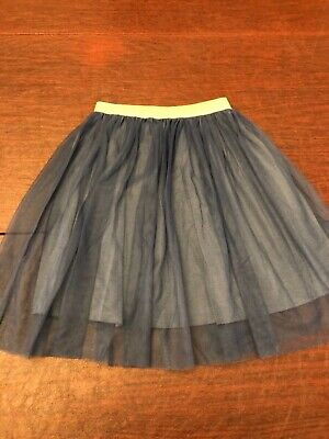 Caffe' D'orzo Girls Skirt Size 8 Color Blue Tulle Skirt with Gold Waistband