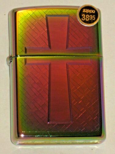 New Zippo USA Windproof Oil Lighter 68959 Christian Spectrum Traditional Cross