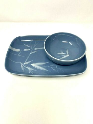 """Vintage Winfield China Pacific Blue Bamboo Serving Platter Tray 11"""" & Bowl"""