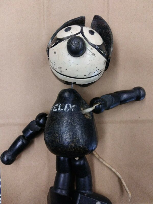 "8"" Antique Wood And Composition Felix The Cat Doll"