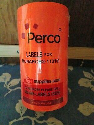 Perco 8 Roll Fluorescent Ornage Labels For Monarch 1131 Price Gun