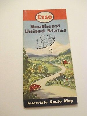 Vintage 1950 ESSO Southeast US Oil Gas Service Station Road Map