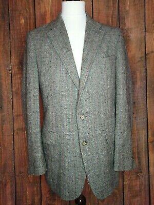 Mens Vintage HARRIS TWEED 100% Wool Blazer Jacket Grey Stripe Tweed 42R