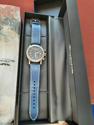 Glycine GL0151 Airman 42 mm GMT Quartz Blue Dial w Leather Strap