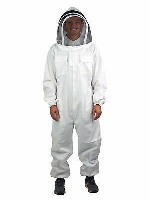 Xl Professional Cotton Full Body Beekeeping Bee Keeping Suit With Veil Hood