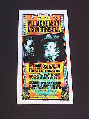 WILLIE NELSON & LEON RUSSELL HAWAII TOUR Psychedelic Postcard by MARK ARMINSKI