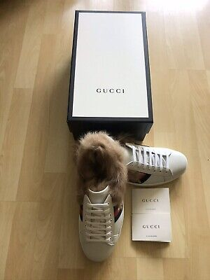 Gucci Ace Bee Fur Unisex Sneakers UK 8.5