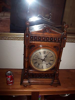 LOVELY LARGE GERMAN QUARTER STRIKE TING TANG BRACKET CLOCK,