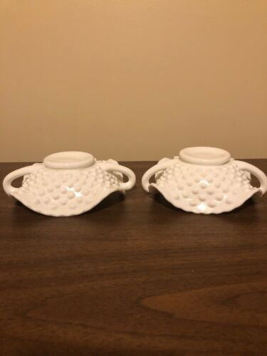 Vintage White Milk Glass Hobnail Candy Dish Bowl With Handles - $14.99
