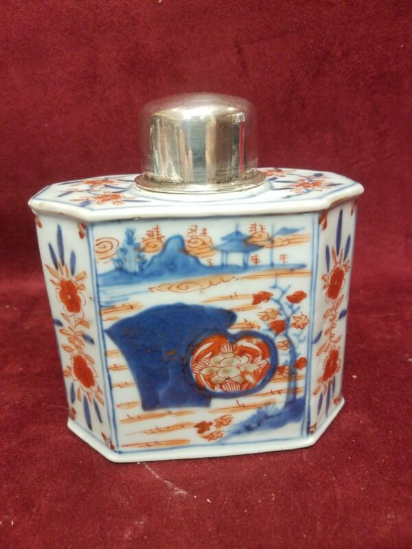 Antique Chinese Export Porcelain  Tea Caddy W/ Silver Top Kang Hei period