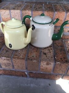 Old enamel tea pots Burleigh Waters Gold Coast South Preview