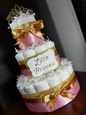 3 Tier Diaper Cake - Pink and Gold Custom Princess Theme Diaper - Pink And Gold Theme