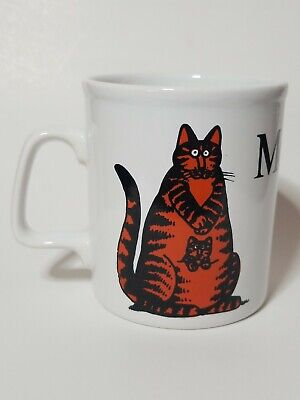 Vtg B Kliban Signed Kiln Craft Staffordshire Pottery Momcat Kitty Cat Coffee Mug