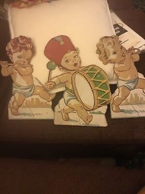 3 Vintage Antique Stand Up Baby Band Members.