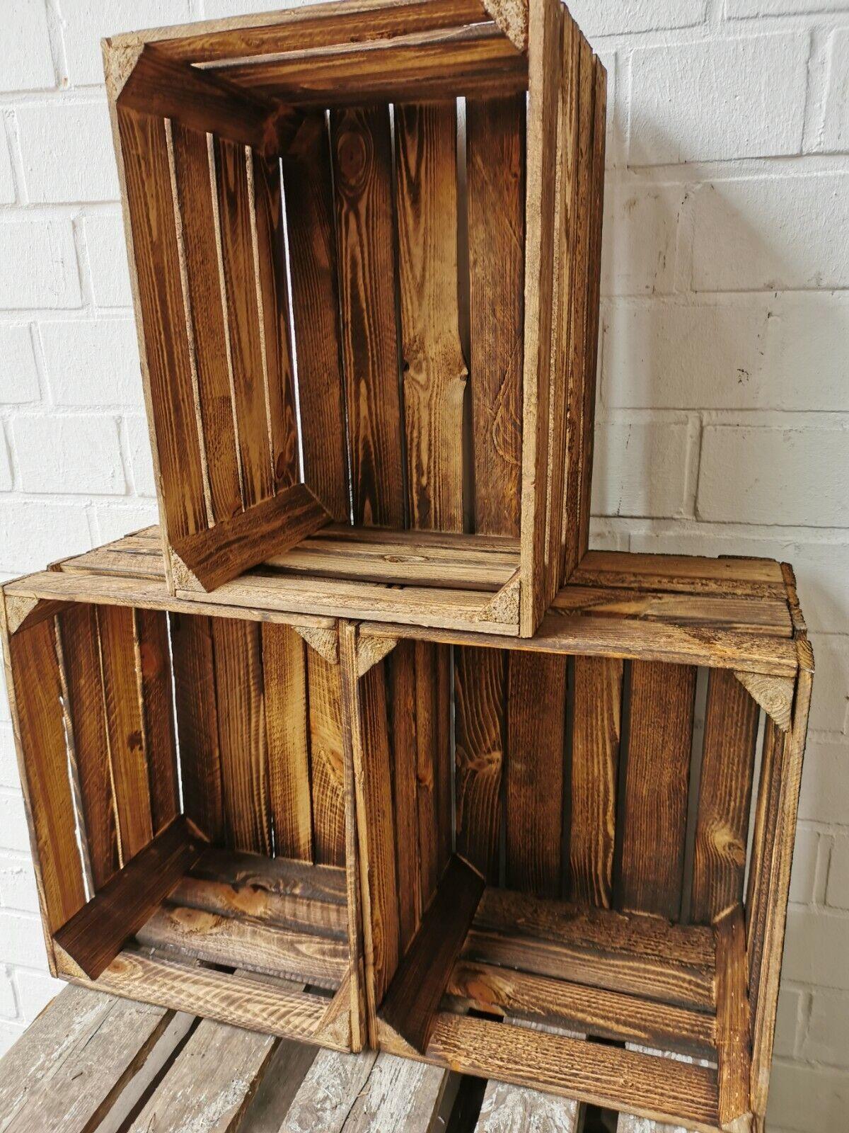 3er Set Holzkisten Obstkisten geflammt used 50 x 40 x 30cm massiv und stabil top