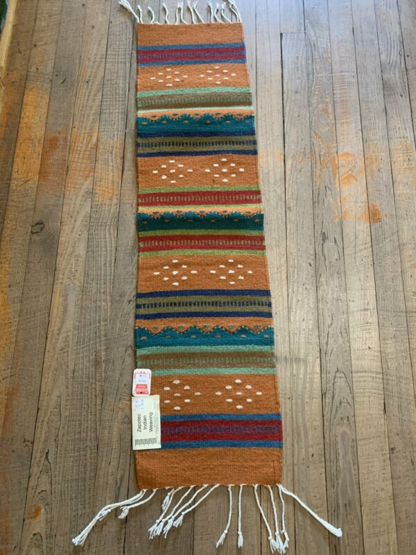 """Zapotec Handwoven Wool Runner for table top, wall, or floor use.   Approx 10""""x39"""