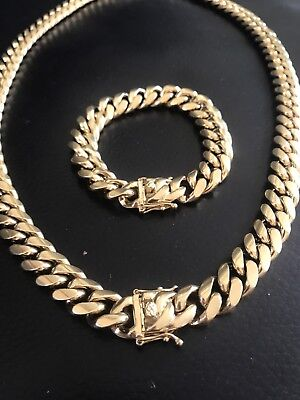 14mm Men Cuban Miami Link Bracelet & Chain Set  14k Gold Plated Stainless Steel