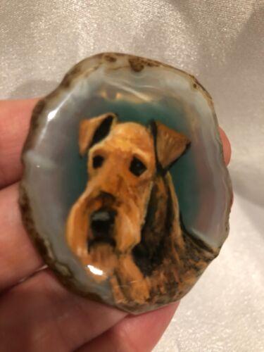 Irish/Lakeland Terrier hand-painted pendant/necklace unique geode stone jewelry