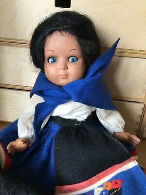 Vintage Doll in Sardinian costume, beautiful hair and felt clothes