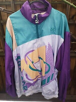 Puma vintage Retro 80s/90s Zip Windbreaker Shell Suit Zip Jacket Purple Green...