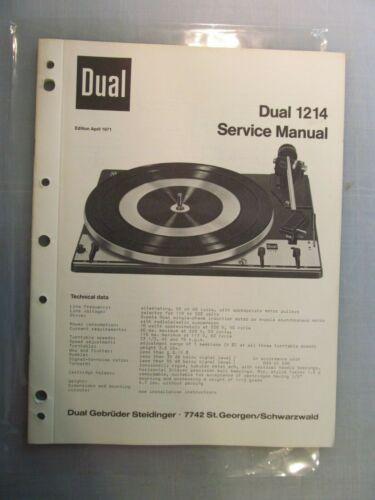 Dual 1214 Turntable Service Manual *Original* -- Great condition! No markings!