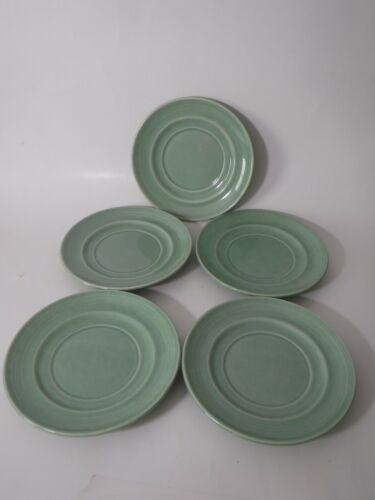 "(5) Mid Century Metlox California Pottery ""Colorstax"" 6"" Saucer / Plate GREEN"