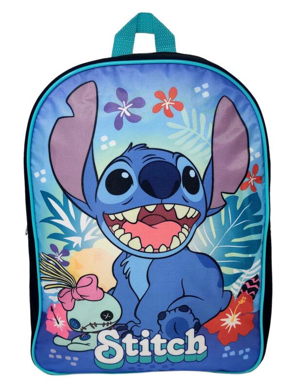 "Disney Lilo & Stitch 15"" Backpack Scrump Hawaii Flowers Black Teal"