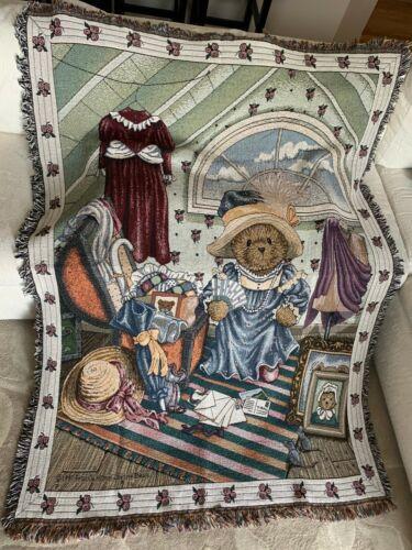 Very Rare Cherished Teddies Large Tapestry Throw Blanket Afghan Pristine L👀K ❤