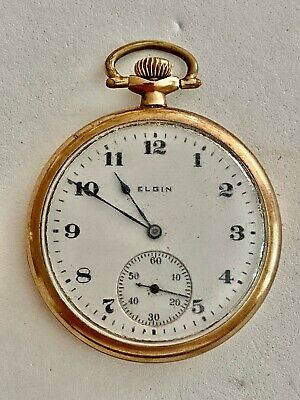 WORKING GOLD FILLED ELGIN POCKET WATCH, PLEASE SEE OTHER POCKET WATCH & JEWELRY