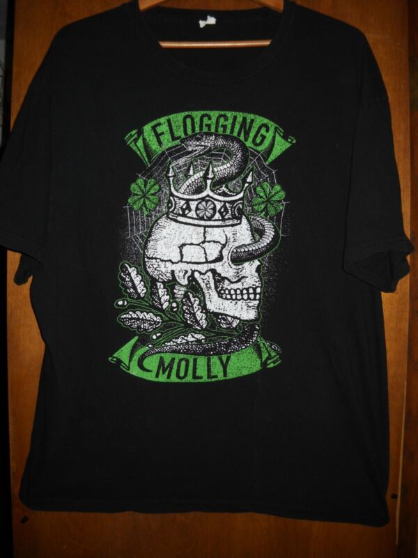 Flogging Molly- Skull Snake Crown- Lic OOP Black T-Shirt- 2XLarge