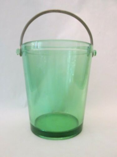 ICE BUCKET! Vintage FOSTORIA ELEGANT depression GREEN FAIRFAX pattern EXC
