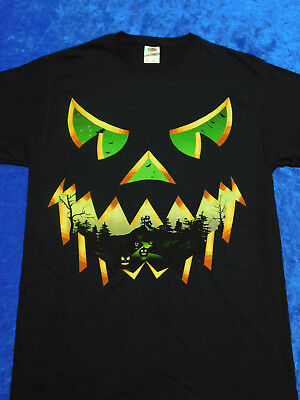 Haunted Face Jack O' Lantern Halloween T-Shirt M-3XL - Halloween Jackolantern Faces