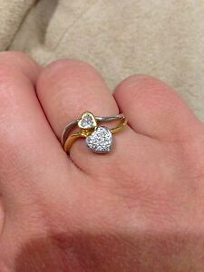 Quick Sale 20 ct Solid Gold Diamonds Double Hearts Ring N 1/2 Perth Perth City Area Preview