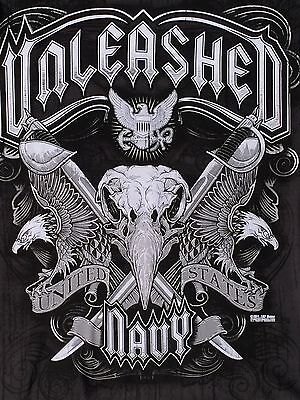 NEW XL US Navy UNLEASHED  T Shirt EAGLES 7.62 Design Anchor 2 Sided Black Navy Unleashed T-shirt
