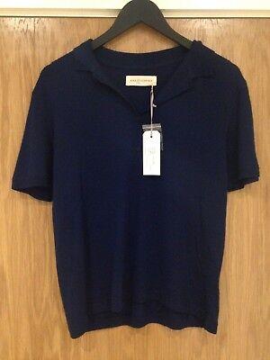 Designer King Tuckfield Woman's Small 100% Marino Navy Blue Polo Shirt BNWT £155