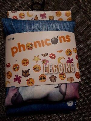 Phonicons Einhorn Emoji Leggings Mädchen 92/98 Disney Eiskönigin Anna Zuckertüte