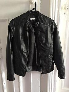 SZ 8 ladies black PVC quilted biker zip front fully lined jacket North Sydney North Sydney Area Preview