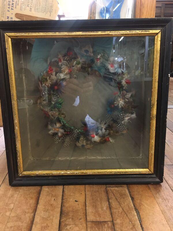 ANTIQUE Vintage VICTORIAN MOURNING Feather FRIENDSHIP ART Wreath Shadow Box