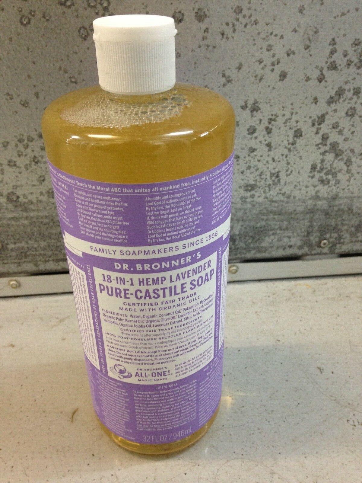 Dr. Bronners Pure Castile Soap Hemp Lavender 32 Fl. Oz 18-in-1  - $10.79